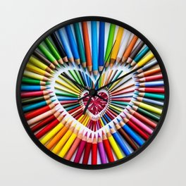 Colorful Pencils with Pink Heart Stone Wall Clock