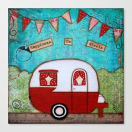 Vintage Camper Red Canvas Print
