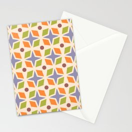 Mid Century Modern Abstract Star Dot Pattern 541 Orange Brown Lavender Chartreuse Stationery Cards