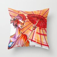 japanese Throw Pillows featuring Japanese by Cemile Demir Uzunoglu