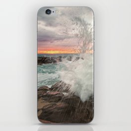 Crashing waves at sunset iPhone Skin