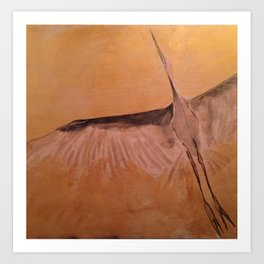 Wood Crane gold sky painting on wood Art Print