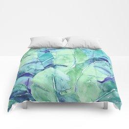 Banana Tree Leaves | Tropical  BLUE Watercolor Comforters