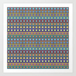 Retro Colors Geometric Stripes Art Print