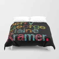 seinfeld Duvet Covers featuring Jerry, George, Elaine & Kramer by Seinfeld Moments