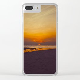 Vintage Sepia Orange Rustic Sunset Over The Ocean Clear iPhone Case
