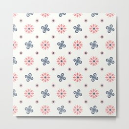 Seamless abstract floral pattern. 4 colors variations, pastel colors Metal Print