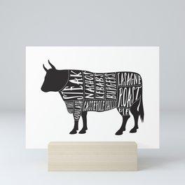 Beef butchers diagram Mini Art Print