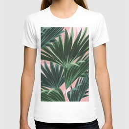Pink and green palm trees T-shirt