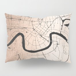 New Orleans Rose Gold and Black Map Pillow Sham