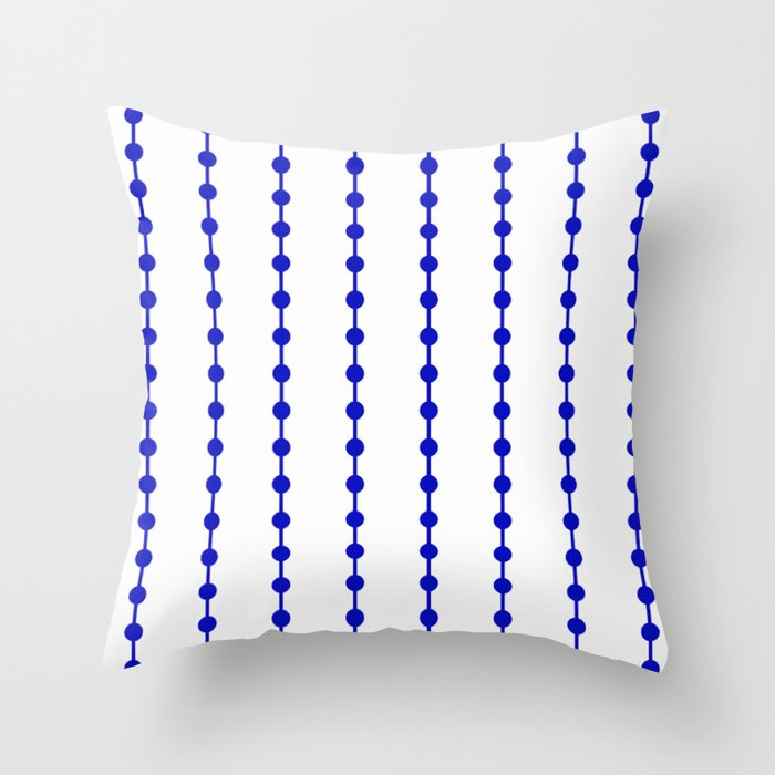 Geometric Droplets Pattern Linked Navy Blue On White Throw Pillow