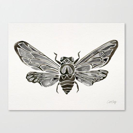 Summer Cicada – Black Palette Canvas Print