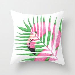 Pink Flamingo Palm Leaf Throw Pillow