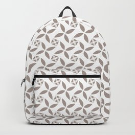 TERRAPIN taupe tan repeating pattern on white Backpack