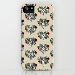 Heart Shaped Rib Cage Roses and Ivy iPhone Case