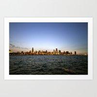 Chicago Skyline - Lights On Art Print