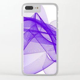 Overlapping Lines Abstract Pattern In Deep Purple Clear iPhone Case