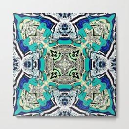 Abstract Turquoise Kaleidoscope Metal Print