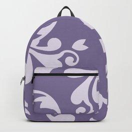 Royal Damask, Ornaments, Swirls - Purple White Backpack