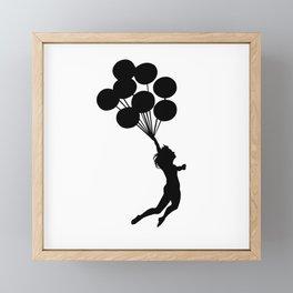 Girl With Balloons Framed Mini Art Print