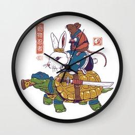 Kame, Usagi, and Ratto Ninjas White Wall Clock