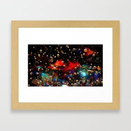 Cosmic Abstract with Golden Rain Framed Art Print