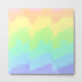 Geometric Pastel Rainbow Metal Print