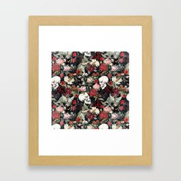 Vintage Floral With Skulls Framed Art Print