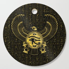 Egyptian Eye of Horus - Wadjet Gold and Black Cutting Board