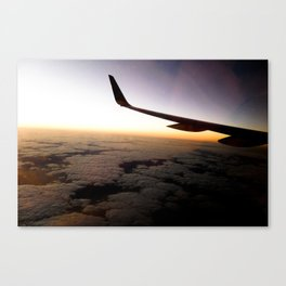 Airplane Wing Window Seat View of Horizon at Dusk Canvas Print
