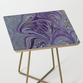 Purple, Blue, & Green Marbled Side Table