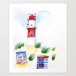 Borkum Lighthouse whimsical watercolor painting Art Print