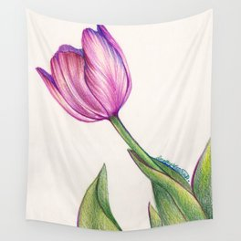 Purple Tulip in Colored Pencil Wall Tapestry