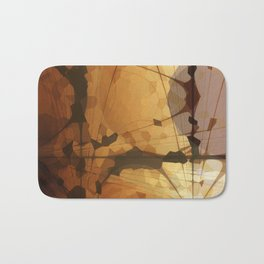 Abstract Art- Brown Art- Sacred Geometry Art- Catana- Pattern Art- Yellow- Beige Bath Mat