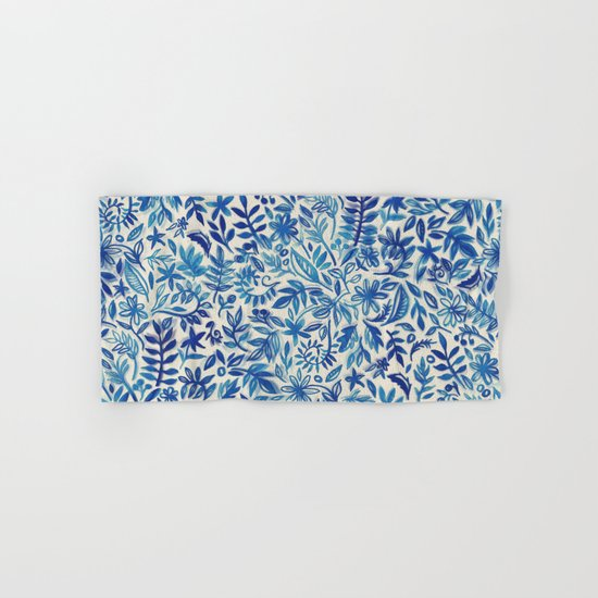 Floating Garden - a watercolor pattern in blue Hand & Bath Towel