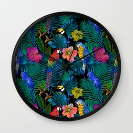 Tropical Birds and Botanicals Wall Clock