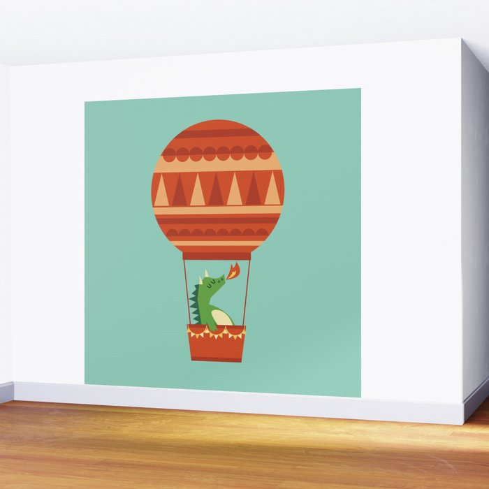 Dragon On Hot Air Balloon Wall Mural