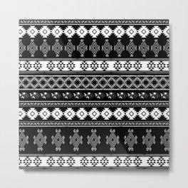 White & Black Primitive Pattern Metal Print