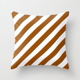 Diagonal Stripes (Brown/White) Throw Pillow