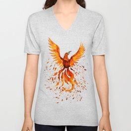 Rising Phoenix Bird  Unisex V-Neck
