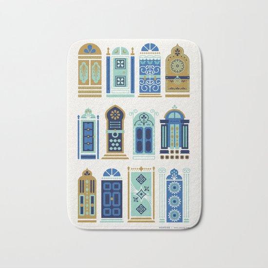 Moroccan Doors – Blue & Gold Palette Bath Mat
