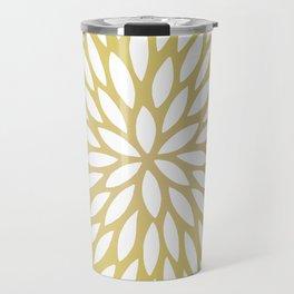 White Leaves on Gold Travel Mug