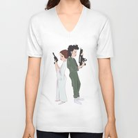 ripley V-neck T-shirts featuring Leia and Ripley by Ashley Anderson