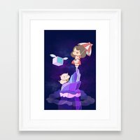 bee and puppycat Framed Art Prints featuring Bee and  Puppycat by drawnbyhanna