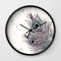 peacock Wall Clocks featuring PEACOCK by Monika Strigel