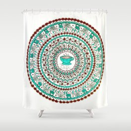 Cafe Expresso Teal, Brown, and White Mandala Shower Curtain