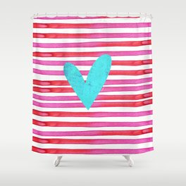 Soulmates Lines and Hearts Shower Curtain