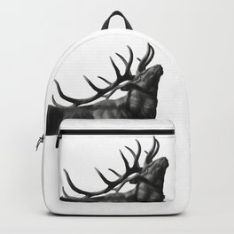 Elk in Black in White Backpack