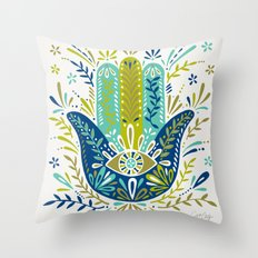 Hamsa Hand – Lime, Turquoise & Navy Palette Throw Pillow
