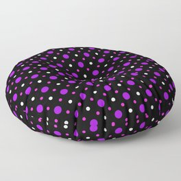Black, Purple, Pink and White  Spots Pattern Floor Pillow
